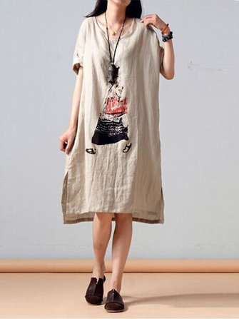 Casual Women Cotton Linen Dress Loose Printed Short Sleeve Dresses