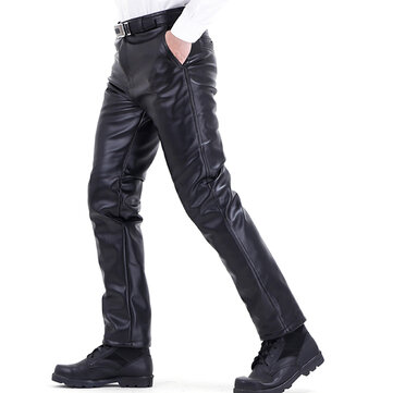 Men's Winter Plus Velvet Thick Warm PU Leather Pants