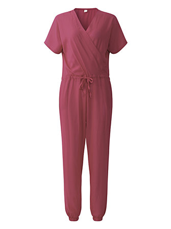 Casual Women V-neck Bandage Short Sleeve Jumpsuits