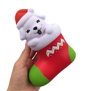 SquishyFun Christmas Sock Dog Squishy 15*11.5*6.5CM Licensed Slow Rising With Packaging