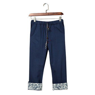 Men's Casual Porcelain Flounced Leg Opening Cropped Pants Chinese Style Cotton Linen Slacks Pants