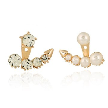 Korean Asymmetric Pearl Crystal Rhinestone Ear Stud Earrings For Women