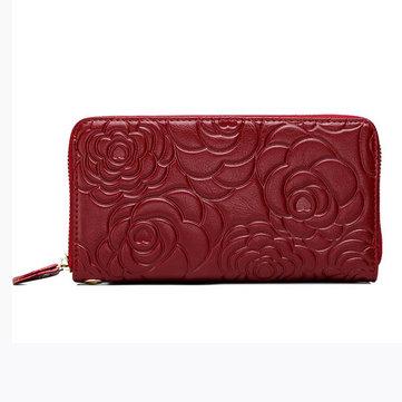 Женщин из натуральной кожи пион цветок дизайн длинный бумажник дамы элегантный держатель карты кошелек для монет сумки