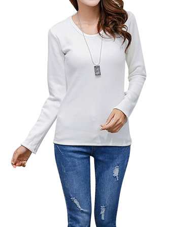 Casual Pure Color Long Sleeve Thick Velvet O-Neck Women T-Shirt