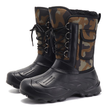 US Size 8-11 Men Shoes Camo Hunting Boots Waterproof Faux Fur Lining Rubber Toe