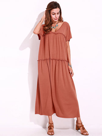 Casual Women Short Sleeve V-Neck Solid Color Long Dress