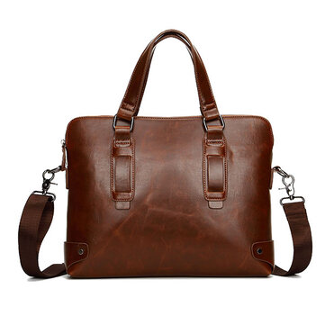 Vintage PU Leather Business Handbag Crossbody Shoulder Bag Briefcase For Men