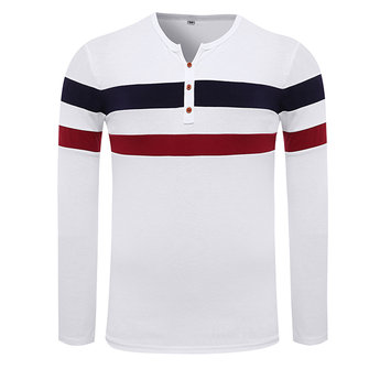 Spring Autumn Contrast Color Striped T-shirt Men's Long-sleeved O-neck Collar Straight T-shirt