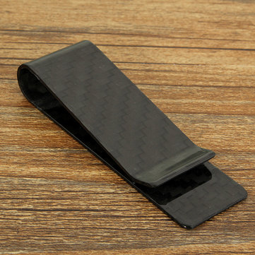 7x2.2CM Black Carbon Fiber Hard Glossy Money Clip Cash Business Card Holder