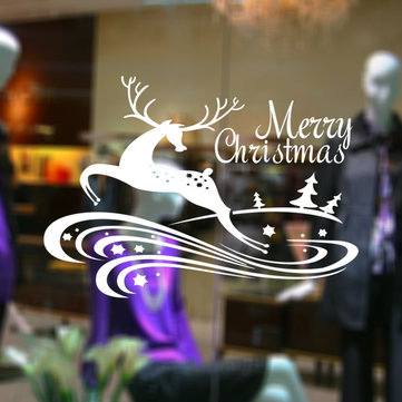 Merry Christmas Happy New Year Cute Deer Caving Waterproof Removable PVC Glass Wall Window Decor Sticker for Home Festival Party Decorations