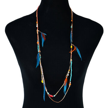Charming Multicolor Glass Beaded Necklace Bohemian Women's Feather Cotton Necklace