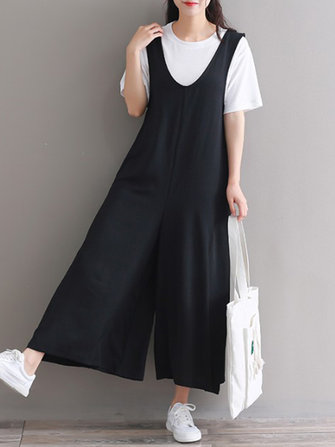 Casual Women Wide Leg Solid Sleeveless Jumpsuit