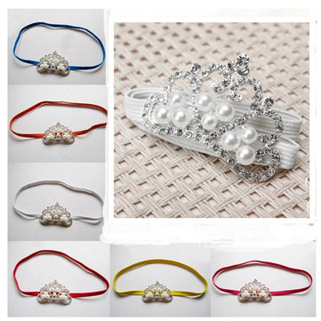 New Arrival Fabric Pearls Crown Tiara Baby Colorful Infant Toddler Headbrand Kids Hair Band