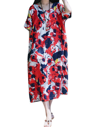 Women Short Sleeve V-neck Floral Print Loose Casual Dress