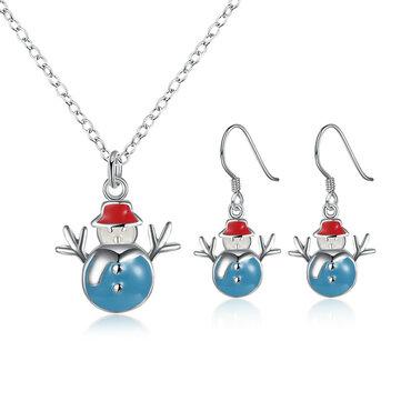 Noël bonhomme de neige collier émail processus boucles d'oreilles cadeau ensemble de bijoux