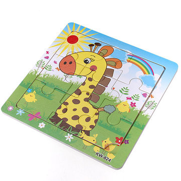 9Pcs DIY Wooden Giraffe Puzzle Jigsaw Baby Kids Training Toy