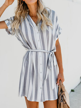Women Casual Striped Belt Short Sleeve Shirt Mini Dress