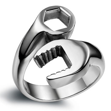 316L Titanium Steel Punk Biker Wrench Ring For Men