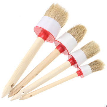 Universal 30/40/50/60mm Wooden Handle Dust Bristle Cleaning Brush Tool For Car Care Vents Trim Rim