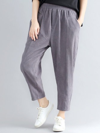Casual Loose Elastic High Waist Pure Color Women Pants