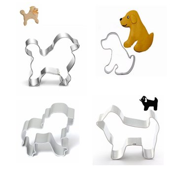 4 Pcs Dog Stainless Steel Cookie Cutter Mold Puppy Biscuit Fondant Cutter Cake Decorating Tool