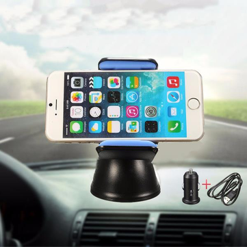 Qi Wireless Car Charger Transmitter Cradle 360° Rotation Adjustable Dashboard Phone Holder