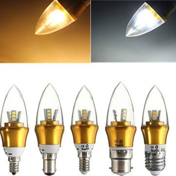 E27/E14/E12/B22/B15 3W LED Warm White/White 15SMD 2835 Golden Candle Light Bulb Lamp 85-265V