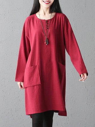 Solid Color Pockets Dress
