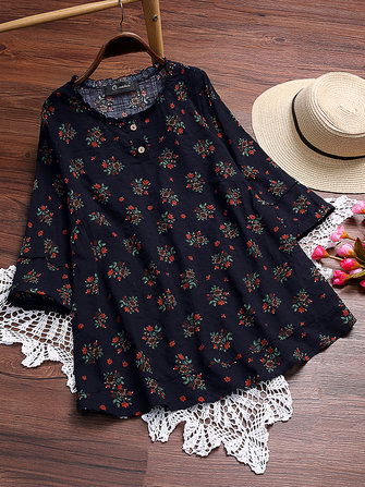 Women Floral Print O-neck Blouse