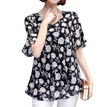 Women Short Sleeve Flower Print Loose Chiffon T-shirts