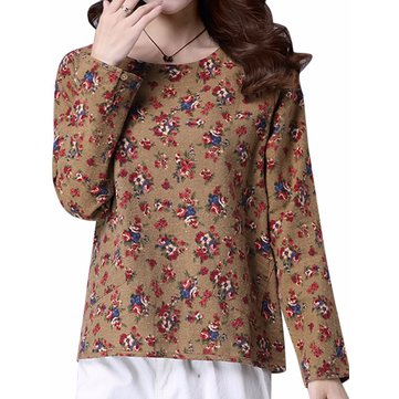 Vintage Floral Printing Long Sleeve Loose Casual Women Blouse