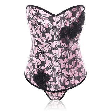 Women Push Up Waist Body Shaping Drawstring Palace Bodysuit Printing Corset Bustiers