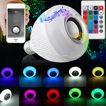 E27 12W RGB 16 Colors Wireless Bluetooth Speaker Music LED Light Bulbs With Remote AC100-240V