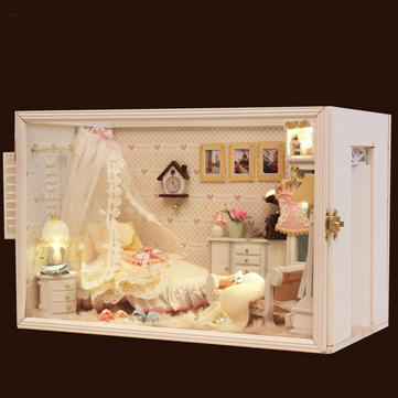 Hoomeda 13821 Perfect Wedding With LED Light Cover Furniture DIY Wooden Dollhouse Miniature Model