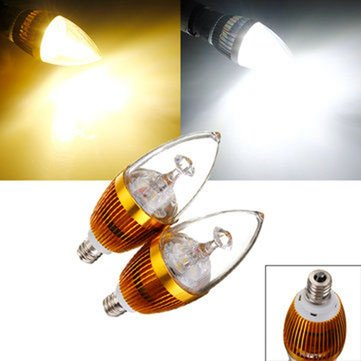 E12 3W 3 LED White/Warm White LED Chandelier Candle Light Bulb 85-265V