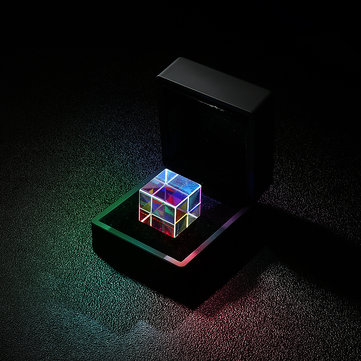 20% OFF For 20mm/23mm Optical Glass Crystal Combiner Prism X Cube RGB Dispersion Splitter w/ Blue Shinning Box