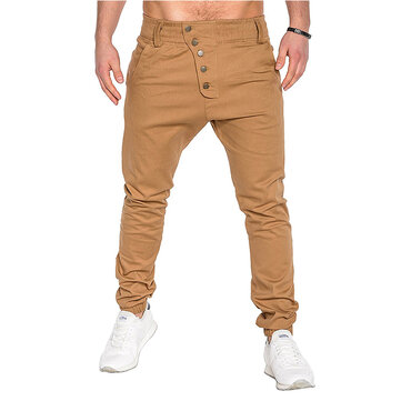 Men's Fashion Button Stitching Trousers