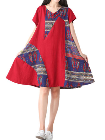 Vintage Women Ethnic Pattern Patchwork Linen Swing Dress