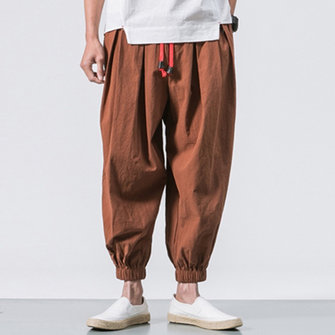 TWO-SIDED Men's Cotton Loose Comfy Vintage Drawstring Jogger Casual Harem Pants