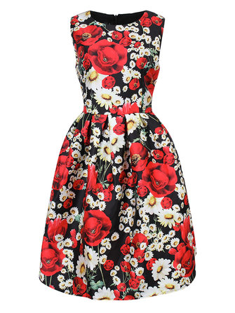 Elegant Floral Printed Sleeveless High Waist Women Ball Gown Dress