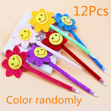 12Pcs Blue Ink Ballpoint Pen Smile Face Sunflower Kid Ball Pen For School Child Gift