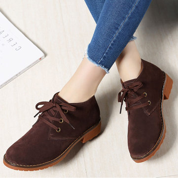 Suede Ankle Boots Lace Up Casual Flats Women Shoes