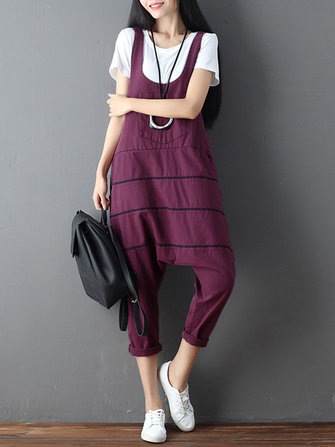 Women Sleeveless Stripe Cotton Casual Loose Jumpsuit