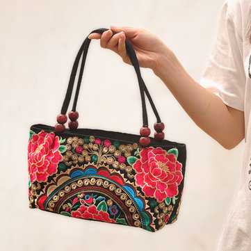Ethnic Embroidery Flowers Bag Handbag Tote Bag
