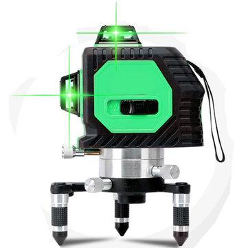 Profesional Automático 12 Línea Verde Láser Medida de Nivel herramienta Kit