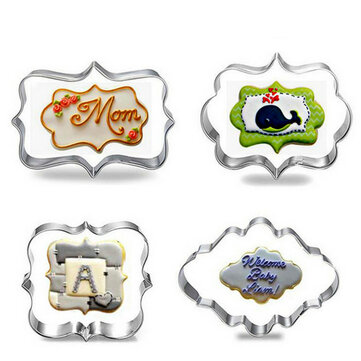 4pcs Blessing Wedding Frame Cookie Cutters 3D Biscuit Sugarcraft Kitchen Mould Baking Pastry Tools
