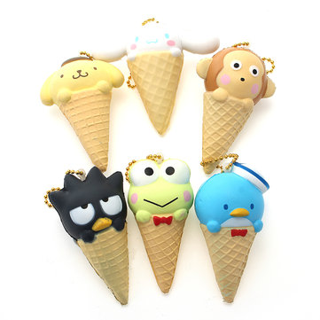 Squishy Bird Frog Dog Monkey Ice Cream With Ball Chain Phone Bag Strap Decor Gift Toy