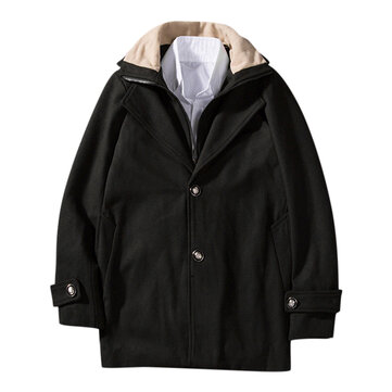 Men Casual Woollen Contrast Color Collar Double Placket Coat