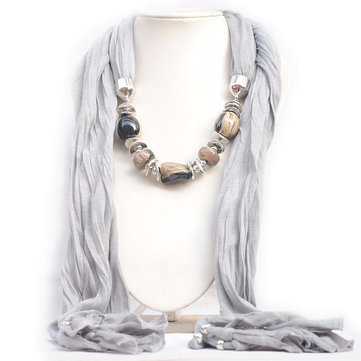Tassel Silk Cotton Gemstone Pendant Sweater Necklaces For Women