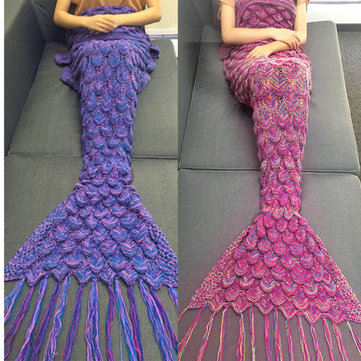 85x 190cm Mermaid Tail Sofa Blanket Soft Warm Hand Crocheted Knitting Wool For Adult
